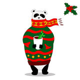 Vector panda wearing scarf and pullover with cup. Vector Illustration, A cute cartoon panda with scarf is holding cup with hot drink in the hands Stock Photo