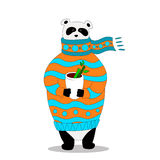 Vector panda wearing scarf and pullover with cup. Vector Illustration, A cute cartoon panda with scarf is holding cup with hot drink in the hands Vector Illustration