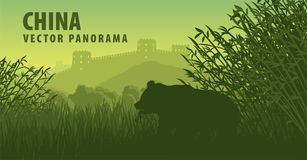 Vector panorama of China with Great Wall in mountain and giant panda bear in bamboo. Forest vector illustration