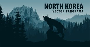 Vector panorama of North Korea with mountain Chilbosan and lynx in woodland stock illustration