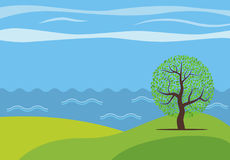Vector panoramic cartoon landscape with the lonely tree. Against the see Royalty Free Stock Photo