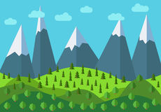 Vector panoramic mountain cartoon landscape. Natural landscape in the flat style Stock Photography