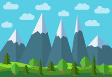 Vector panoramic mountain cartoon landscape. Natural landscape in the flat style Royalty Free Stock Photos