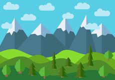 Vector panoramic mountain cartoon landscape. Natural landscape in the flat style with blue sky Royalty Free Stock Photo