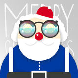 Vector Papá Noel Ejemplo de la Feliz Año Nuevo y de la Navidad Forma simple Diseño plano Imagenes de archivo