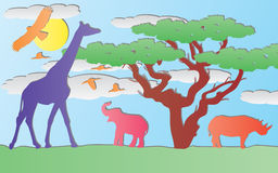 Vector paper animals in africa Royalty Free Stock Images
