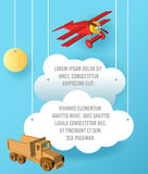 Vector Paper art of cloud, car and plane in the sky. Template advertising brochure with space for text. Origami concept Banner. Vector Paper art of cloud, car Royalty Free Stock Images