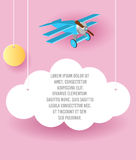 Vector Paper art of cloud and plane flying in the sky. Template advertising brochure with space for text. Origami concept Banner. Vector Paper art of cloud and Stock Photography