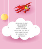 Vector Paper art of cloud and plane flying in the sky. Template advertising brochure with space for text. Origami concept Banner. Vector Paper art of cloud and Royalty Free Stock Images