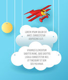 Vector Paper art of cloud and plane flying in the sky. Template advertising brochure with space for text. Origami concept Banner. Vector Paper art of cloud and Royalty Free Stock Photos