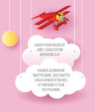 Vector Paper art of cloud and plane flying in the sky. Template advertising brochure with space for text. Origami concept Banner. Vector Paper art of cloud and Royalty Free Stock Photography