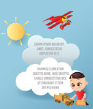 Vector Paper art of cloud and plane flying in the sky. Template advertising brochure with space for text. Origami concept Banner. Banner with funny cartoon Stock Image