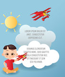 Vector Paper art of cloud and plane flying in the sky. Template advertising brochure with space for text. Origami concept Banner. Banner with funny cartoon Stock Photos