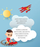 Vector Paper art of cloud and plane flying in the sky. Template advertising brochure with space for text. Origami concept Banner. Banner with funny cartoon Royalty Free Stock Images