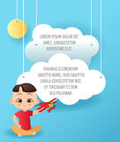 Vector Paper art of cloud and plane in the sky. Template advertising brochure with space for text. Origami concept Banner. Banner. With funny cartoon kids Royalty Free Stock Images