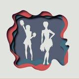 Vector paper art craft  illustration of a baseball cheerleaders. Paper cut card Royalty Free Stock Photo