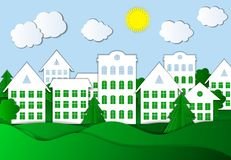 Vector Paper Art Style Town Illustration, Colorful Background. royalty free illustration