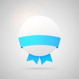 Vector paper badge with blue silk ribbon Royalty Free Stock Photography