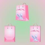 Vector paper bag peek-a-Boo Easter Bunny. Royalty Free Stock Photos