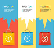 Vector paper bag sale card, option banner. Flat Royalty Free Stock Image