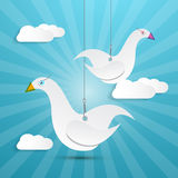 Vector Paper Birds Hang on Rope Royalty Free Stock Photo