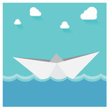 Vector Paper boat floating ocean. Abstract Seascape Origa Royalty Free Stock Image