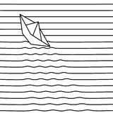 Vector paper boat on waves. Background from lines. Stock Images
