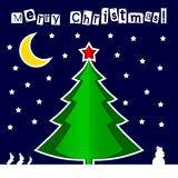 Vector paper Christmas tree Blue night background. Vector paper Christmas tree on a blue night background. Design elements for holiday cards Royalty Free Stock Photo