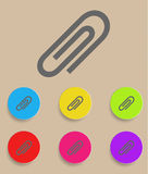 Vector paper clip icons with color variations.  Royalty Free Stock Photos