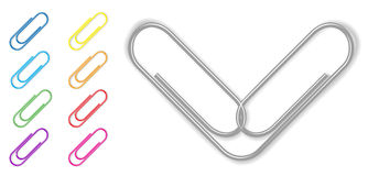 Vector paper clip set Royalty Free Stock Photos