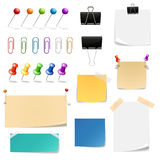 Vector paper clips binders, pins and note papers Royalty Free Stock Image