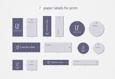 Vector paper clothing labels for print with classical blue pattern Stock Photo