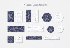 Vector paper clothing labels for print with dragonfly pattern Royalty Free Stock Image