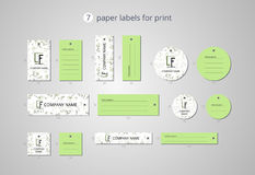 Vector paper clothing labels for print with fennel pattern Stock Photo
