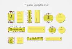 Vector paper clothing labels for print with pattern autumn leaves Stock Images