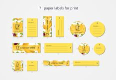 Vector paper clothing labels for print with pattern bananas and flower Stock Photo