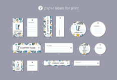 Vector paper clothing labels for print with pattern blue jellyfish Stock Image