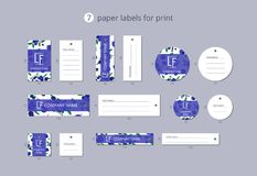 Vector paper clothing labels for print with pattern blueberries and leaves Royalty Free Stock Images