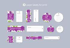 Vector paper clothing labels for print with pattern bunch of grapes with leaves Stock Photos