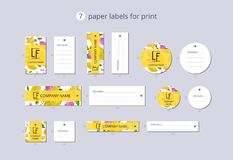Vector paper clothing labels for print with pattern carambola and flower Royalty Free Stock Photography