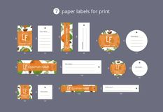 Vector paper clothing labels for print with pattern coconut and leaves Stock Photography