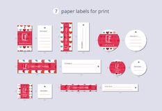 Vector paper clothing labels for print with pattern colorful hearts Royalty Free Stock Photo