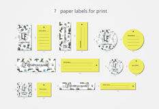 Vector paper clothing labels for print with pattern funky fish Royalty Free Stock Photo