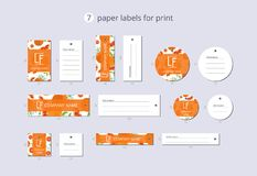 Vector paper clothing labels for print with pattern grapefruit and flower. On bright field Stock Photos