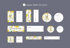 Vector paper clothing labels for print with pattern lemons and flowers Royalty Free Stock Photos