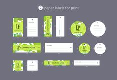 Vector paper clothing labels for print with pattern lime and flower. On blue field Stock Photography
