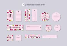 Vector paper clothing labels for print with pattern mangosteen and flower Royalty Free Stock Photography