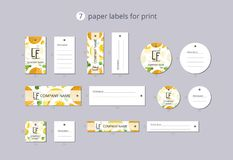 Vector paper clothing labels for print with pattern melon and flowers Royalty Free Stock Photos