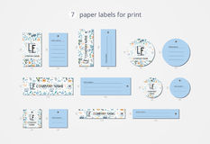 Vector paper clothing labels for print with pattern ocean Royalty Free Stock Photography