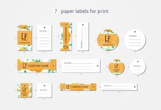 Vector paper clothing labels for print with pattern orange and flowers Stock Photo